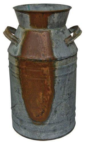 "Milk Can - 10-3/4"" Galvanized Finish - Country Rustic Primitive Jug Vase"