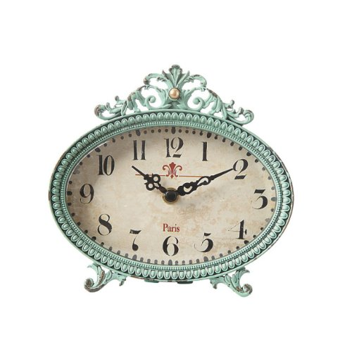 Pewter Table Clock, Aqua