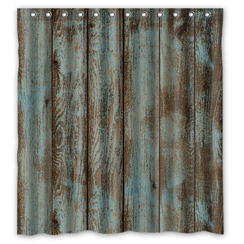 Waterproof Decorative Rustic Old Barn Wood Art Shower Curtain