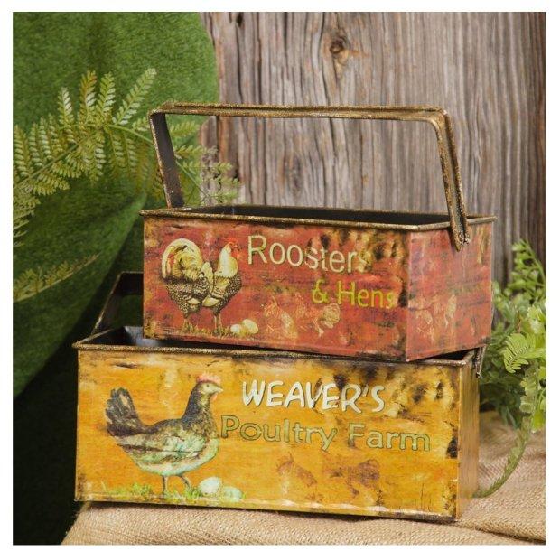 Farm Fresh Eggs Rectangle Planters with Handle