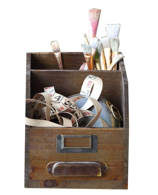 Casual Country 2-Section Wood Bin