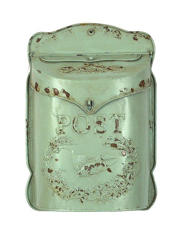 Aqua Embossed Tin Letter Box