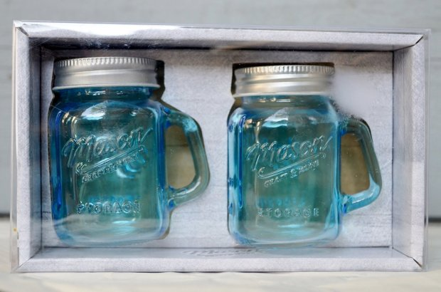 Mason Jar Salt and Pepper Shaker - Clear Glass Blue