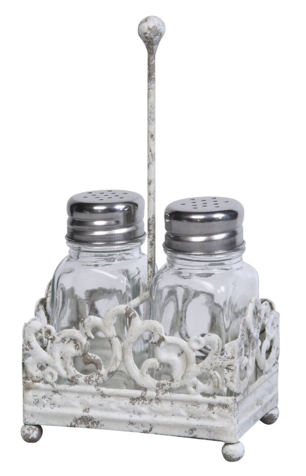 Metal Salt and Pepper Shaker Caddy with Glass Shaker