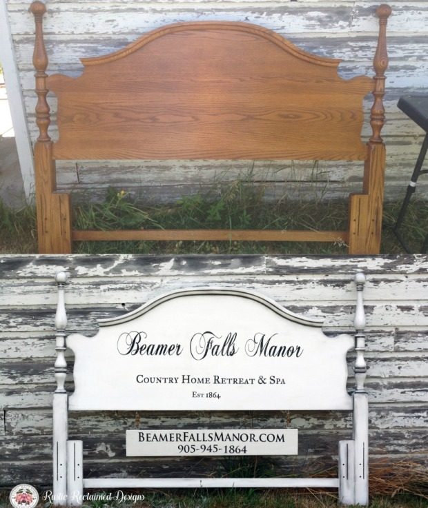 Headboard Sign before & after for Beamer Falls Manor
