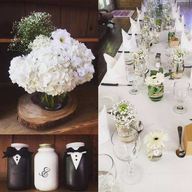 Groom & Groom Mason Jars - Beamer Falls Decor | Rustic Reclaimed Designs
