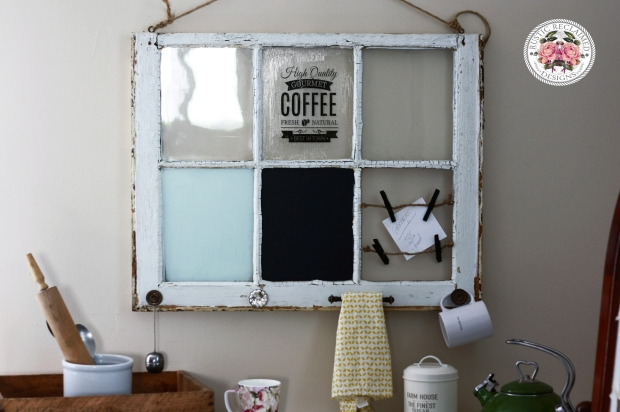 Antique Window turned Coffee Themed Memo Board