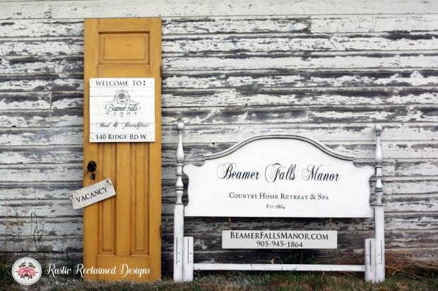 Yellow Door & Headboard signs for Beamer Falls Manor | Rustic Reclaimed Designs