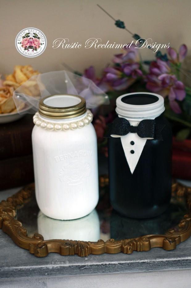 Bride & Groom Mason Jars