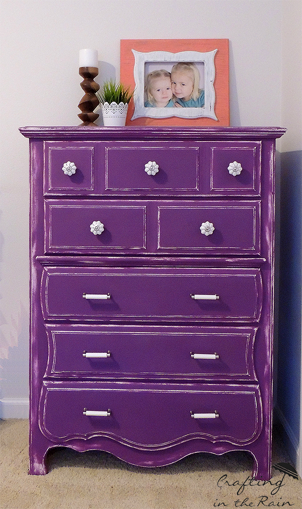 Country Chic Purple Dresser #DIY #purple #countrychicpaint #dresser #bedroom #homedecor #furniturepaint #paintedfurniture #bright #bold - blog.countrychicpaint.com