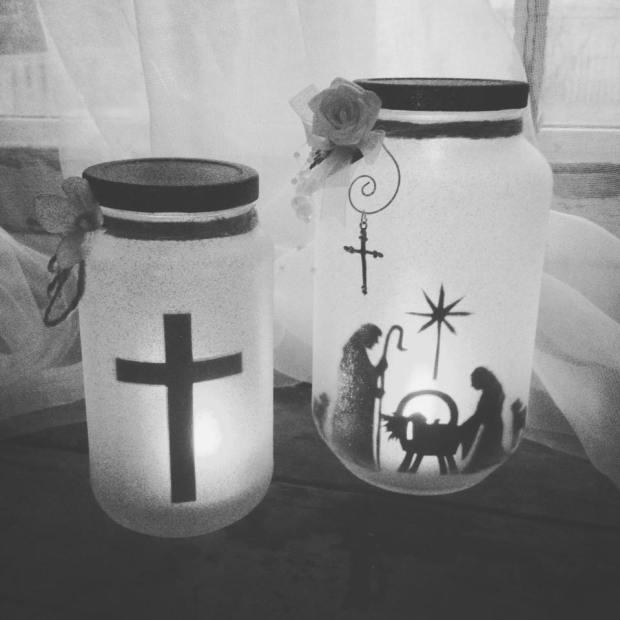Cross & Nativity Lantern Jars by Sherida