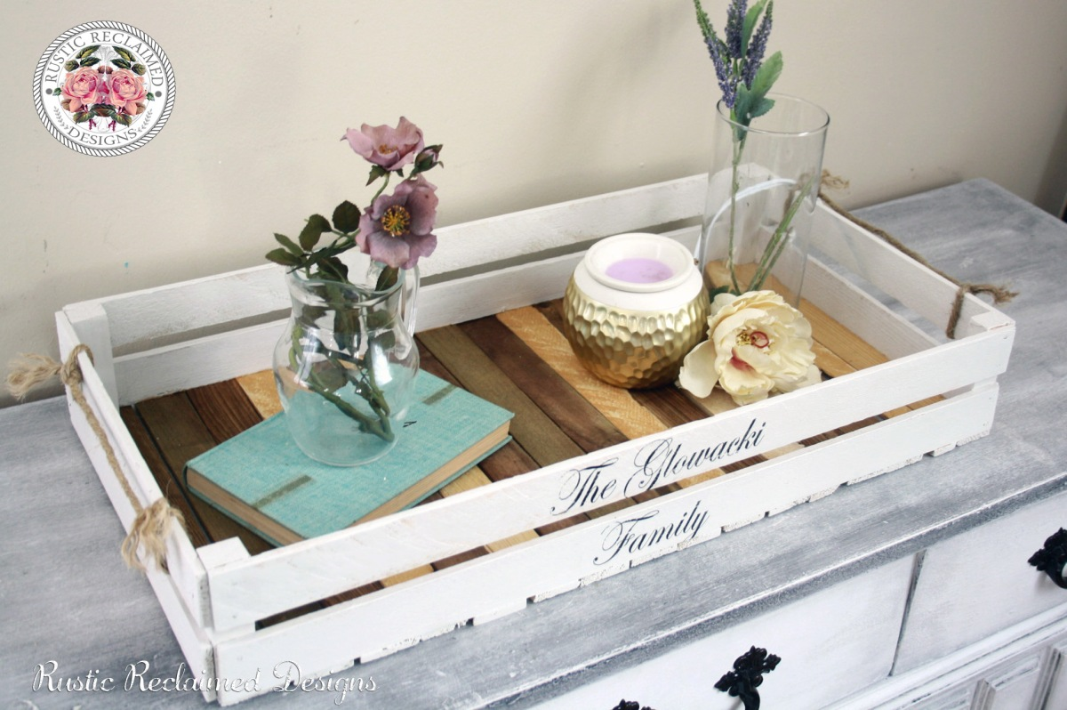 Creating a farmhouse chic serving tray out of reclaimed strapping.