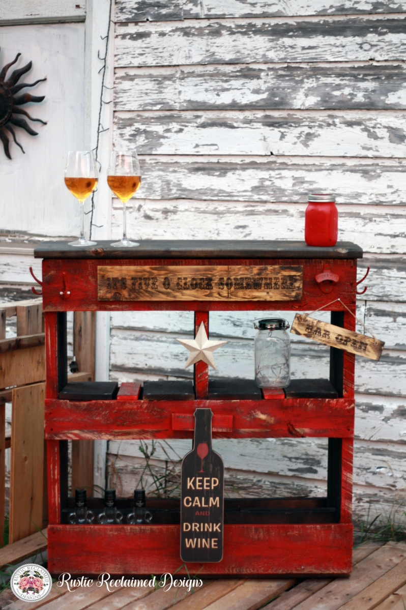 Rustic Red Pallet Bar - Project