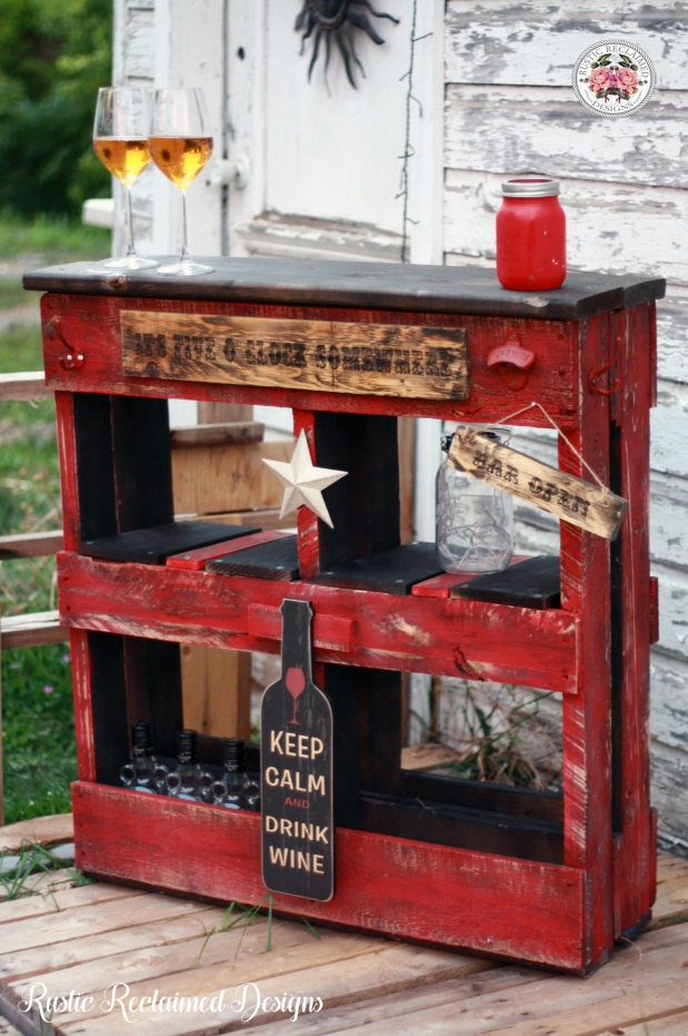 Rustic Red Pallet Bar