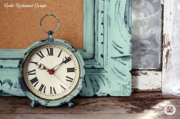 Rustic Crackle Frame & Matching Clock