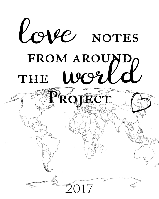 Love notes from around the world project 2017. Free printable title page